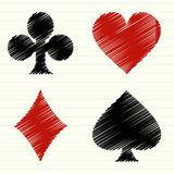 Vector set of scribble playing cards symbols Stock Photo