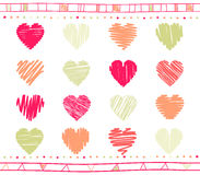 Vector set of scribble valentine hearts Royalty Free Stock Image