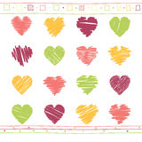 Vector set of scribble valentine hearts Royalty Free Stock Images