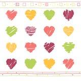 Vector set of scribble valentine hearts Stock Image