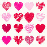Vector set of scribble valentine hearts Royalty Free Stock Photos