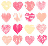 Vector set of scribble valentine hearts Stock Photography