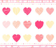 Vector set of scribble valentine hearts Stock Image