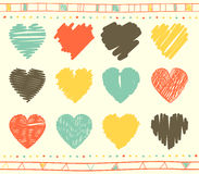 Vector set of scribble valentine hearts Royalty Free Stock Photo