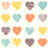 Vector set of scribble valentine hearts Stock Images