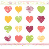 Vector set of scribble valentine hearts Royalty Free Stock Photography