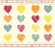 Vector set of scribble valentine hearts Stock Photo