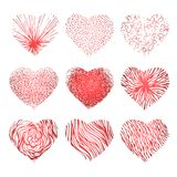 Vector set of scribbled hand drawn hearts for vector illustration