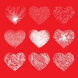 Vector set of scribbled hand drawn hearts for Royalty Free Stock Photos