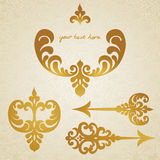 Vector set of scrolls. Vector set of scrolls, vignettes and arrows in Victorian style. Element for design. It can be used for decorating of invitations Royalty Free Stock Photography