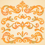 Vector set of scrolls and vignettes in Victorian style. Stock Image