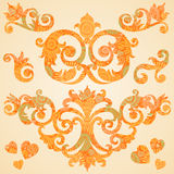 Vector set of scrolls and vignettes in Victorian style. Stock Photography