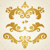 Vector set of scrolls and vignettes in Victorian style. Royalty Free Stock Photos
