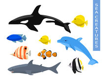 Vector set of sea creatures. Cute animals whale, fish, dolphin, shark. Vector illustration on white background Royalty Free Stock Photo