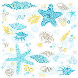 Vector set of sea element and seashells. Royalty Free Stock Images