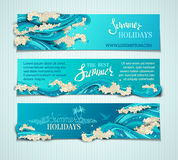 Vector set of sea/ocean horizontal banners. Royalty Free Stock Image