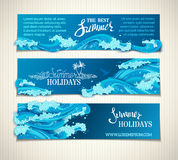 Vector set of sea/ocean horizontal banners. Royalty Free Stock Photography