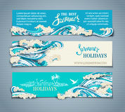Vector set of sea/ocean horizontal banners. Stock Photography