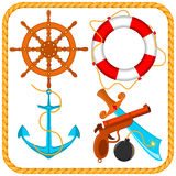 Vector set of sea pirate items Royalty Free Stock Photo