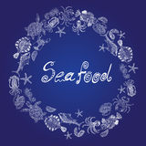 Vector set of a seafood as a ring with the inscription Royalty Free Stock Photos