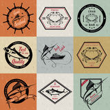 Vector Set of Seafood Labels and Badges Stock Photos