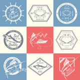 Vector Set of Seafood Labels and Signs Stock Photos