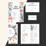 Vector set for seafood restaurant branding. Flyer, brochure, banner, business card. Hand drawn vintage elements. Engraved Salmon, lobster. octopus, squid, crab vector illustration