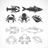Vector set of seafood symbols Stock Photography
