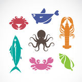 Vector set of seafood symbols. On white background Royalty Free Stock Images