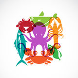 Vector set of seafood symbols Royalty Free Stock Images