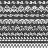 Vector set of seamless borders. Black and white lace pattern for design and fashion. Flowers and leaves motifs Royalty Free Stock Photo