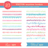Vector set of seamless borders isolated on white background. Royalty Free Stock Photo