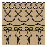 Vector set seamless brushes of the twisted wire rope design fram. Es and borders. Collection of isolated objects on a plain cardboard background to create Stock Photo