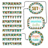 Vector set of seamless bunting brushes and frames from them. Stock Images