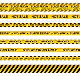 Vector set of seamless caution tapes for black friday. Vector collection of seamless caution tapes for black friday stock illustration