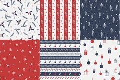 Vector Set of seamless christmas patterns. Royalty Free Stock Photography