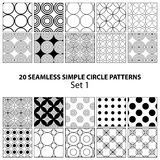 Vector set of seamless circle patterns Royalty Free Stock Photo