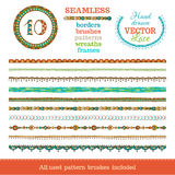 Vector set of seamless doodles geometric borders. Royalty Free Stock Photos