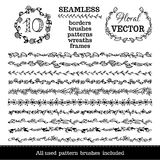 Vector set of seamless floral borders. Stock Photography