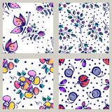 Vector set of seamless floral pattern with butterflies, ladybugs, flowers, leaves, decorative elements Hand drawn contour lines an Royalty Free Stock Photography