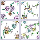 Vector set of seamless floral pattern with flowers, leaves, decorative elements, splash, blots, drop Hand drawn contour lines and Royalty Free Stock Photography