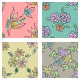 Vector set of seamless floral pattern with flowers, leaves, decorative elements, splash, blots, drop Hand drawn contour lines and Stock Images