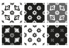 Vector set of seamless floral patterns black and white vintage backgrounds. Collection Stock Images