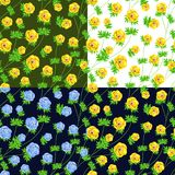 Vector set of seamless floral patterns. For cards, textiles, backgrounds Stock Images