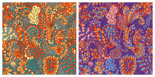 Vector set of seamless floral wallpaper Stock Image