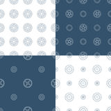 Vector set of seamless gear patterns. Various technical backgrounds of linear gears Stock Images
