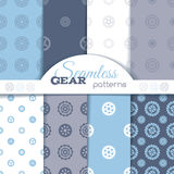 Vector set of seamless gear patterns. Royalty Free Stock Photo