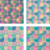 Vector set of seamless geometric backgrounds. Colorful abstract. Patterns can be used for business cards, textiles, wallpaper, packaging, wrapping paper stock illustration