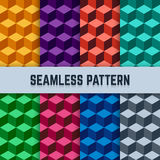 Vector set of seamless geometric patterns in isometric Stock Photo