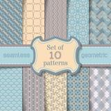 Vector set of seamless geometric patterns. Stock Image